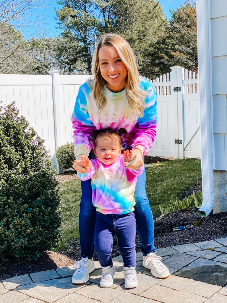 mom and daughter matching tie dye