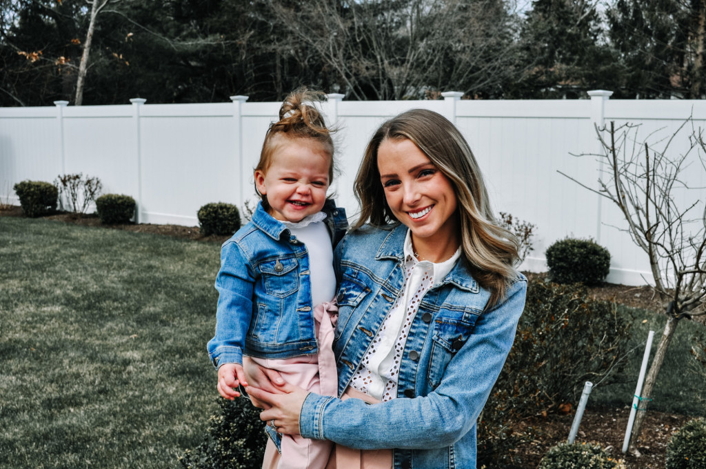 Mommy and me matching jean jackets and pink paperbag pants